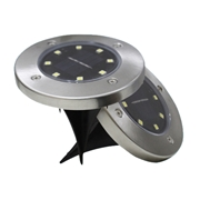 19 geekbuy 8 LED Solar Powered Ground Light Outdoor Garden Pathway Landscape Disk Lights IP65 Water Resistant Flood - Black