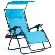 Costway Folding Recliner Lounge Chair w/ Shade Canopy Cup Holder-Blue
