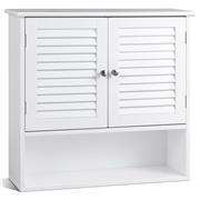 Costway Double Doors Shelves Bathroom Wall Storage Cabinet