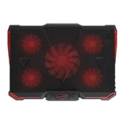24 geekbuy CoolCold Ice Devil 4 Cooling Pad 5 LED Fans 2 USB Ports Adjustable Holder for 12-17 Inch Laptop - Black + Red