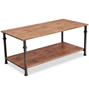 Costway 2 Tier Living Room Accent End Coffee Table w/ Storage Shelf