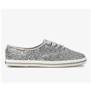 Keds x kate spade new york Champion Glitter Silver Glitter, Size 6.5m Womens Shoes