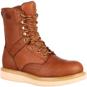 Georgia Boot Men??s Leather 8 Wedge Work Boot Wide Width Available - Brown, Size: 10, Barracuda Gold