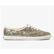 Keds x kate spade new york Champion Glitter Platinum Gold, Size 9.5m Womens Shoes
