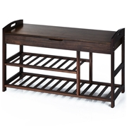 Costway 3-Tier Bamboo Shoe Bench Entryway Storage Rack-Black