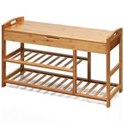 Costway 3-Tier Bamboo Shoe Bench Entryway Storage Rack-Beige