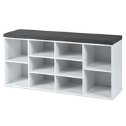 Costway 10-Cube Organizer Entryway Padded Shoe Storage Bench-White