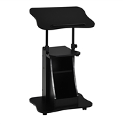 Costway Sit-to-Stand Laptop Desk Cart Height Adjustable with Storage-Black