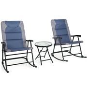 Costway 3 pcs Outdoor Folding Rocking Chair Table Set-Blue