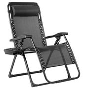 Costway Oversize Lounge Chair Patio Heavy Duty Folding Recliner-Black