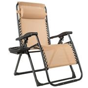 Costway Oversize Lounge Chair Patio Heavy Duty Folding Recliner-Beige