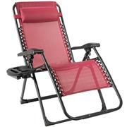 Costway Oversize Lounge Chair Patio Heavy Duty Folding Recliner-Wine