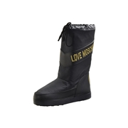 Love Moschino Womens Techno Fabric Logo Stripe Boots Shoes - Black - 5 6 B M US/35 36 M EU
