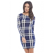 recaro north AX Paris Womens Bodycon Check Navy Blue Dress - Online Exclusive, Size: 4