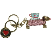 Love Moschino Women s Gold Rhinestone Dog Keyring Handbag Charm Dangle