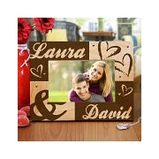 www giftsforyounow com Engraved Couples Hearts Wooden Picture Frame