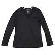 Nike Legend Womens V-Neck Long Sleeve Shirt; Small; Gray