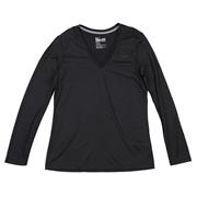 Nike Legend Womens V-Neck Long Sleeve Shirt; Medium; Black