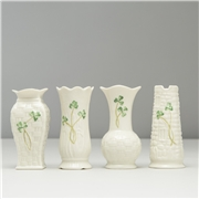Belleek Set of 4 Shamrock Vases