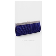 Satin Rhinestone Border Pleated Clutch Handbag by Camille La Vie