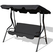 Costway 3 Seats Patio Canopy Swing-Black