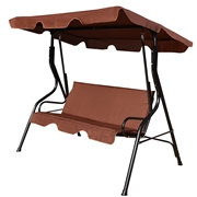 Costway 3 Seats Patio Canopy Swing-coffee