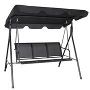 Costway Outdoor Patio Swing Canopy 3 Person  Chair-Black