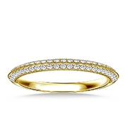 B2C Jewels Pave Set Diamond Half Eternity Band In 18K Yellow Gold For Women 1/4 cttw.