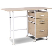 Costway Folding Computer Laptop Desk Wheeled Home Office Furniture-Natural
