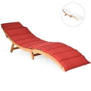 Costway Folding Eucalyptus Outdoor Patio Lounge Chair