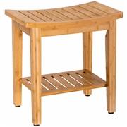 Costway 18 Bamboo Shower Seat Bench w/ Storage Shelf