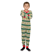 MJC Grinch Family Faces Christmas Kids Pajama Union Suit - Green 3/4
