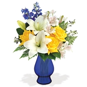 Oceanside Garden with Blue Vase Flower Delivery