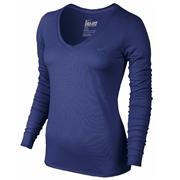 Nike Legend Womens V-Neck Long Sleeve Shirt; X-Small; White/Black