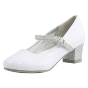 Nine West Little/Big Girls Patrece Mary Janes Shoes - White - 4.5 M US Big Kid