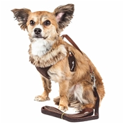 Pet Life Luxe Furracious 2-In-1 Mesh Reversed Adjustable Dog Harness-Leash W/ Removable Fur Collar, Size: Small, Dark Brown Brown