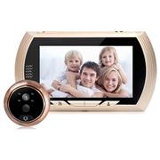 28 geekbuy Danmini YB-43HD-MW Digital Peephole Viewer Camera 1MP 4.3 inch PIR Motion Sensor IR Night Vision Door Bell - Gold