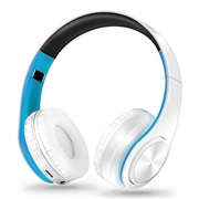 21 geekbuy M3 Foldable Wireless Bluetooth Headphones Stereo Sound Support TF Card FM - Blue + White