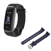 21 geekbuy Makibes HR3 Smart Bracelet Continuous Heart Rate Monitor TFT Color Touchscreen Black + Replacement Strap Band Blue