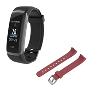 21 geekbuy Makibes HR3 Smart Bracelet Continuous Heart Rate Monitor TFT Color Touchscreen Black + Replacement Strap Band Red