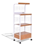 Costway 3-Tier Rolling Kitchen Microwave Oven Stand Cart with Electric Outlet
