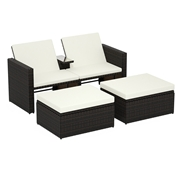 Costway 3 pcs Outdoor Rattan Wicker Chaise Lounge Love Seat