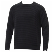 Calvin Klein Mens Check Blister Stitch Long Sleeve Crew Neck Sweater - Black - Small