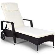 Costway Outdoor Recliner Cushioned Chaise Lounge w/ Adjustable Wheels
