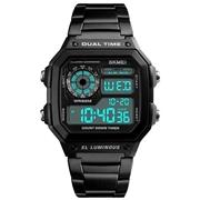 21 geekbuy SKMEI 1335 Mens Digital Sports Watch Square Dial Stainless Steel Strap Waterproof Wristwatches - Black