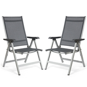 Costway 2 Pcs Adjustable Outdoor Portable Folding Chair
