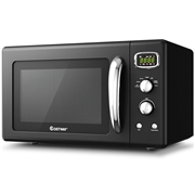 Costway 0.9 Cu. ft Retro Countertop Compact Microwave Oven-Black