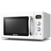 Costway 0.9 Cu. ft Retro Countertop Compact Microwave Oven-White