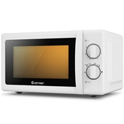 Costway 0.7 Cu. ft Retro Countertop Compact Microwave Oven-White