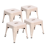 Costway Set of 4 Kids Lightweight Stackable Metal Square Stool-Natural